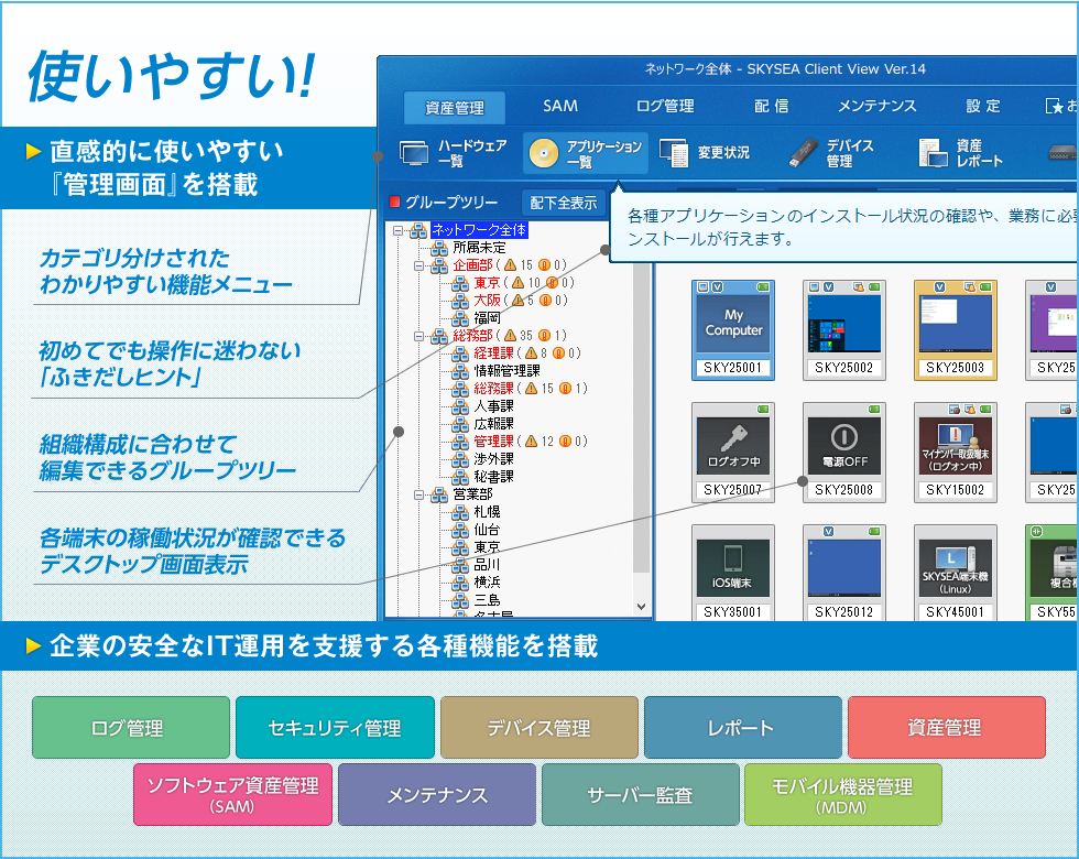 SKYSEA Client View 製品概要図